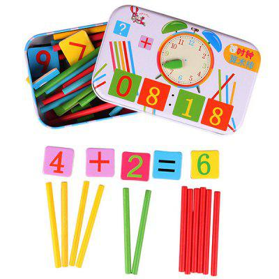 Children Clock Wooden Counting Rods Set children wooden mathematics puzzle toy kid educational number math calculate game toys early learning counting material for kids