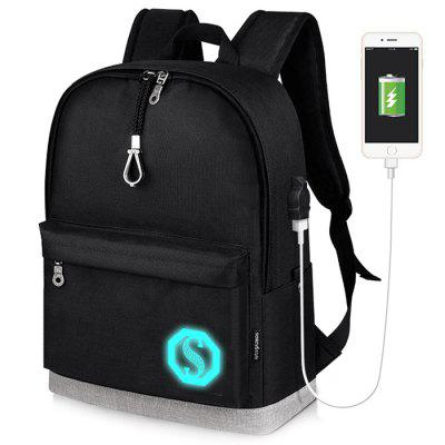 Stylish Luminous Water-resistant Backpack with USB Port