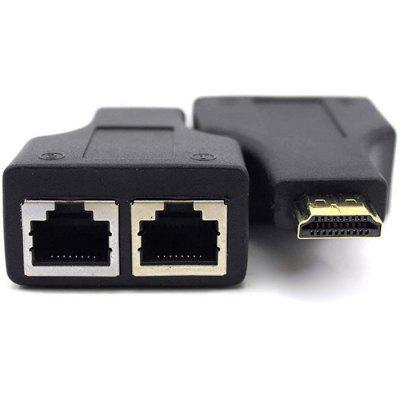 HDMI to Double RJ45 Port Network Cable Extender 1080P rj45 network internet lan connector adapter extender injector for mini dual interfaces