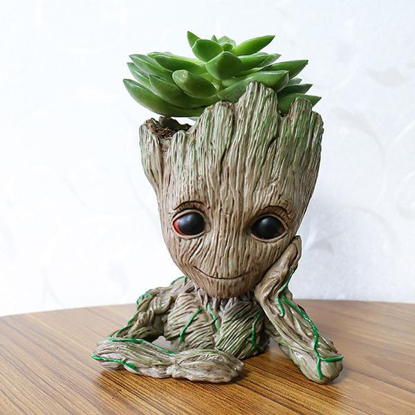 Tree Man Flower Pot Doll Model Skrifborð Decor Gift Toy - APRICOT MEDITATION
