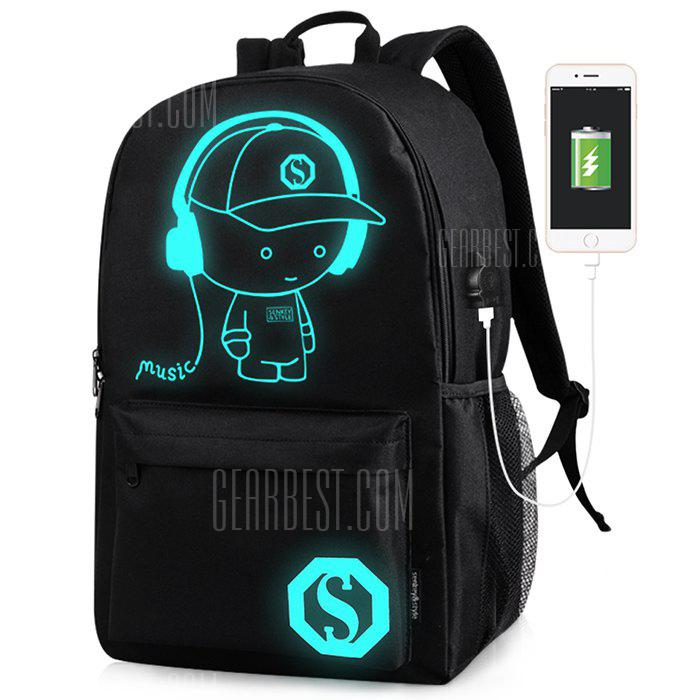 Trendy Luminous Water-resistant Backpack with USB Port
