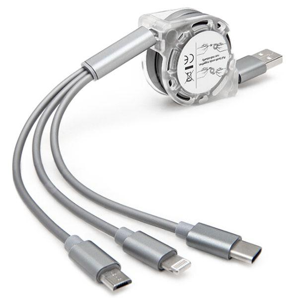 Fashionable 3-in-1 Telescopic USB Cable with 8 Pin / Micro USB / Type-C Plug 1m