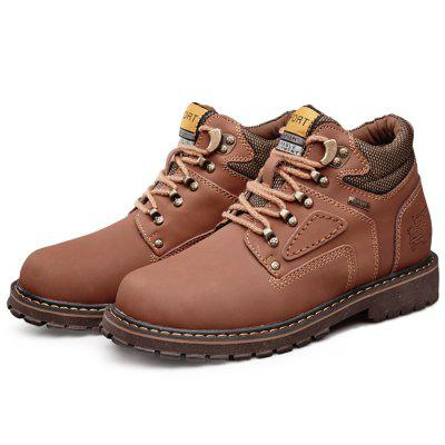 Men Breathable Outdoor High-top Casual Leather Shoes men round toe breathable leather casual shoes