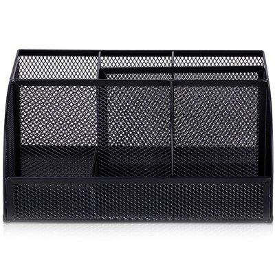 Deli 8903 Multifunctional Mental Net Office Storage Box multi functional creative pencils fashion business card pen holder acrylic student personality office storage box dd973