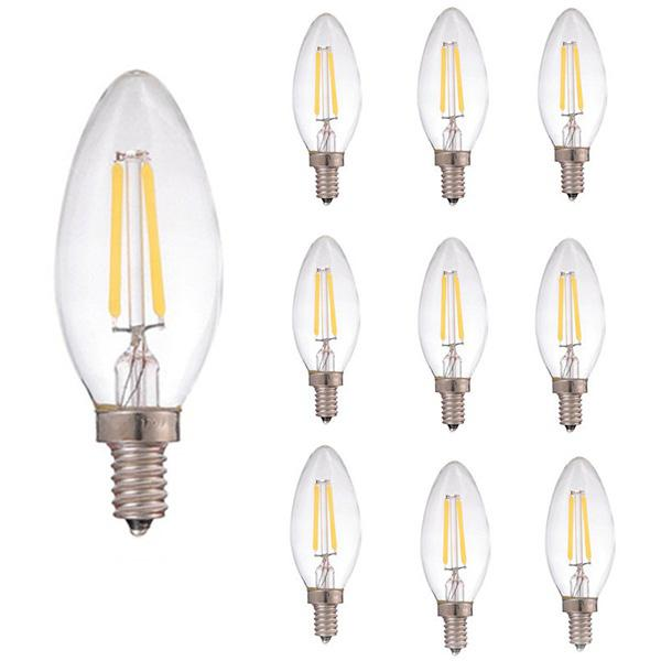 2W E14 COB LED Filament Candle Light AC220 - 240V 10PCS