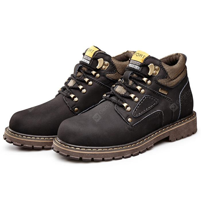 Men Breathable Outdoor High-top Casual Leather Shoes