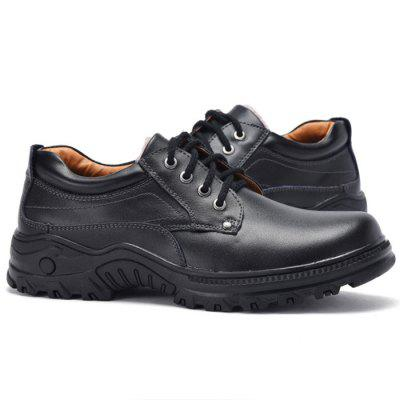 Men Winter Anti-slip Breathable Outdoor Casual Leather Shoes men round toe breathable leather casual shoes