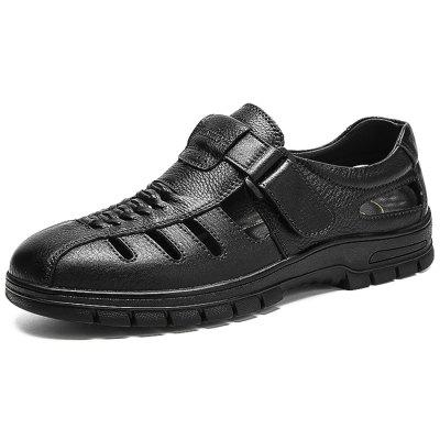Men Anti-slip Breathable Hollow-out Outdoor Casual Leather Shoes men round toe breathable leather casual shoes