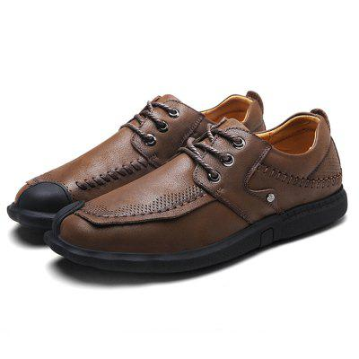 Men Crash-proof Anti-slip Breathable Outdoor Casual Leather Shoes men round toe breathable leather casual shoes