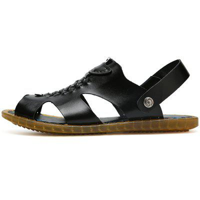Men Fashion Summer Hollow-out Dual-use Leather Sandals