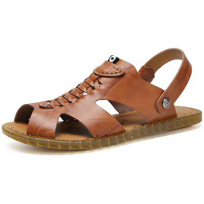 Men Fashion Summer Hollow-out Dual-use Leather Sandals вьетнамки rip curl slide out blue