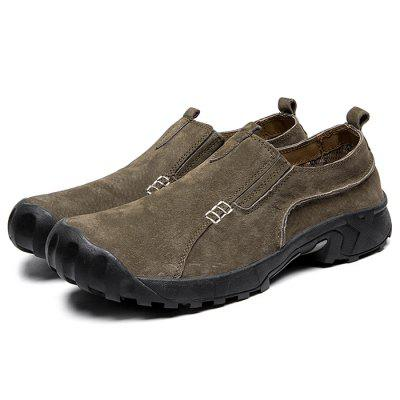 Men Anti-slip Wear-resistant Breathable Outdoor Casual Leather Shoes men round toe breathable leather casual shoes
