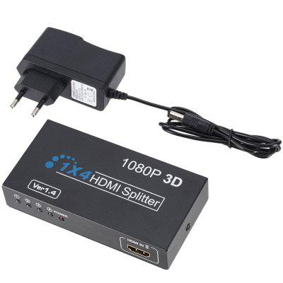One to Four FHD 1080P 3D HDMI Splitter Hub Repeater Amplifier 2pcs dhl fedex free shipping dmx512 splitter light signal amplifier splitter 8 way dmx distributor with photoelectric isolation