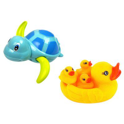 Cute Ducks + Turtle Bathtub Floating Bath Toys Set for Kids