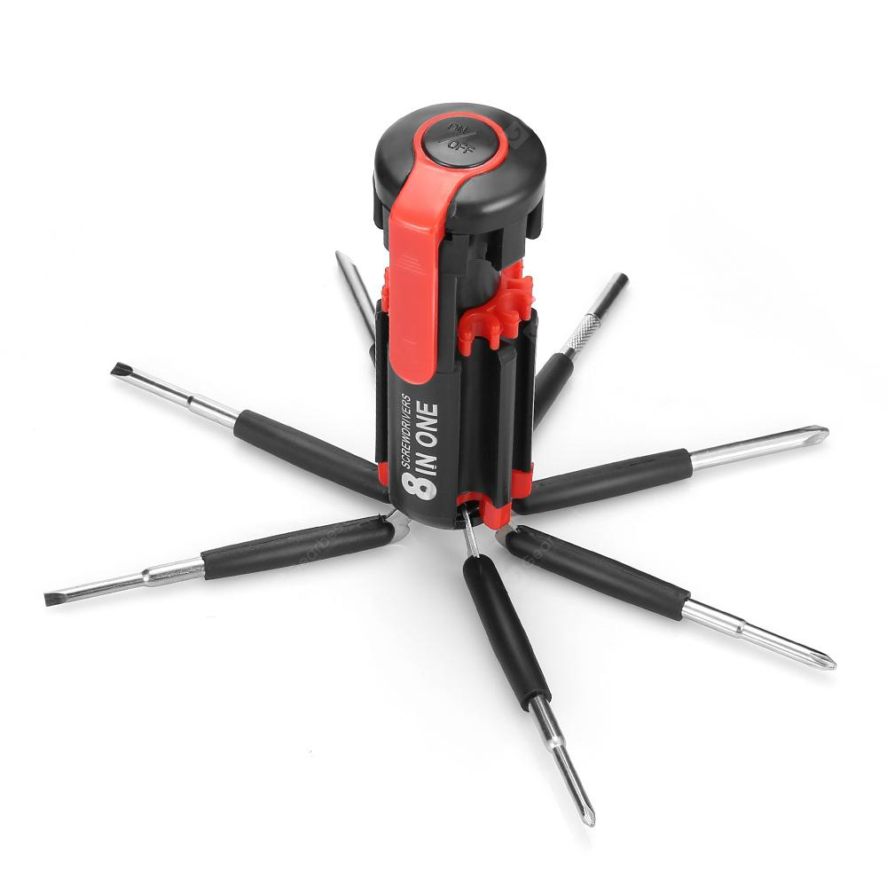 8 in 1 Multifunctional LED Screwdriver Set - Black