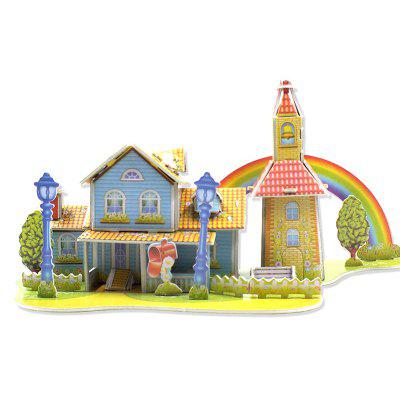 DIY Three-dimensional Garden House Puzzle Jigsaw Puzzle blue magnetic rotation p093 bsk piececool 3d laser cutting jigsaw puzzle diy metal model nano puzzle toys for audlt