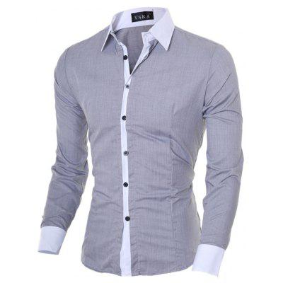Leisure Splicing Long Sleeve Button Down Shirt for Men