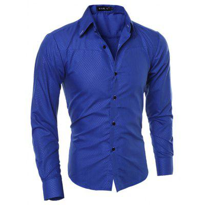 Men Stylish Slim Print Long Sleeve Shirt
