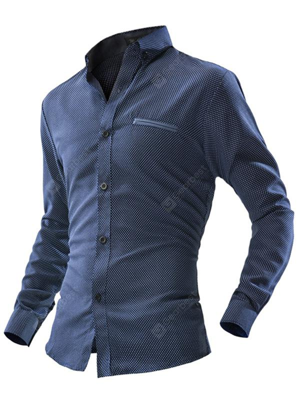 Men's Leisure Business Dot Long Sleeve Button Down Shirt