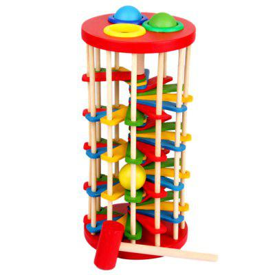 Wooden Knock Ball Ladder Puzzle Toy for Children abacus sorob baby puzzle wooden toy small abacus handcrafted educational toy children s wooden early learning kids math toy mz64