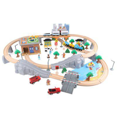 Wooden Puzzle Train Track Toy for Children 95pcs / Set 40pcs railway track overpass blocks wooden structures urban railway track kids baby education traffic blocks toy