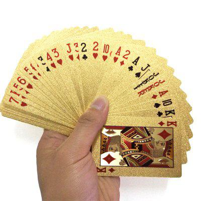 Ensemble de Carte de Jeu de Poker en Feuille d'Or PVC