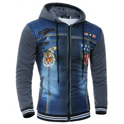 Men Slim Printed Fashion Hoodies slim fit basic blazer