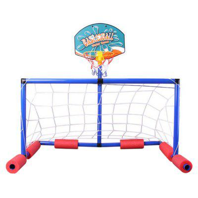 Kids Inflatable Floating Basketball and Soccer Goal Set inflatable children s football gate folding portable ultralight kids soccer door in and out soccer training toys