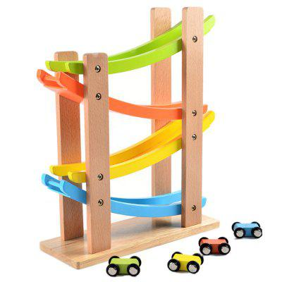 Kids Wooden Four-story Ladder Gliding Car Track Toys 40pcs railway track overpass blocks wooden structures urban railway track kids baby education traffic blocks toy