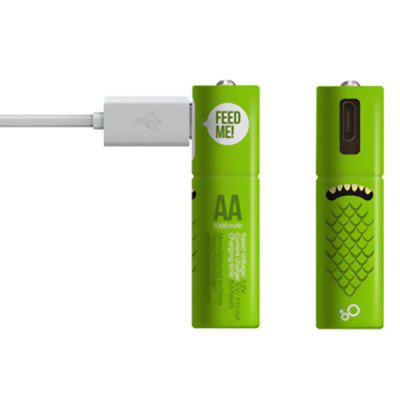 Practical Rechargeable 1.2V AA Battery with Micro USB Plug 2pcs