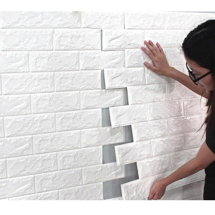 3d Solid Color Wall Sticker for Bedroom Decoration - WHITE