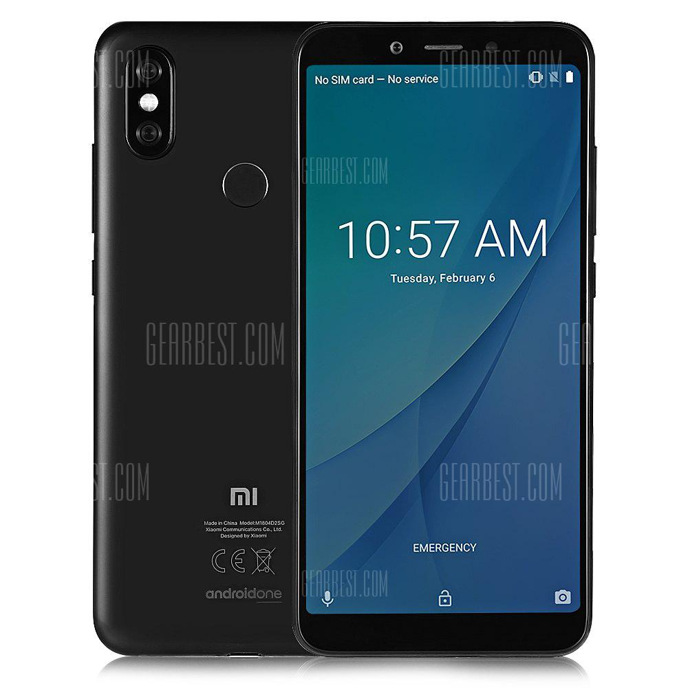 Gearbest Xiaomi Mi A2 4G Phablet Global Version - BLACK 6GB RAM 128GB ROM 12.0MP + 20.0MP Rear Camera Fingerprint Sensor