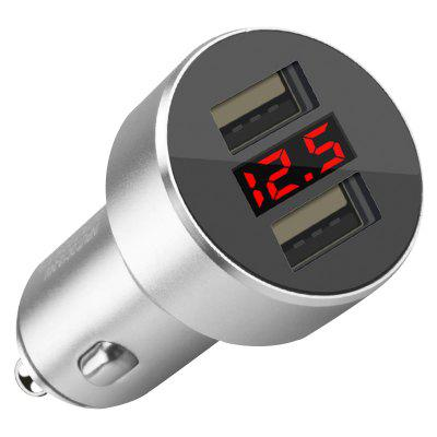 Digital Display Double USB Car Charger Car Safety Hammer