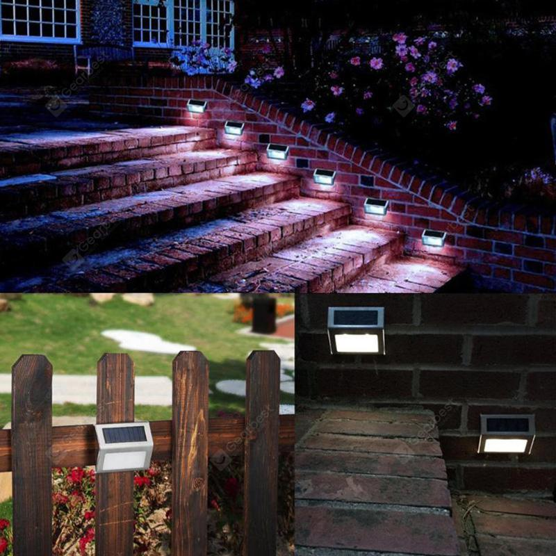 3 LED Solar Stair Light Stainless Steel Pathway Lamp Decor - Silver