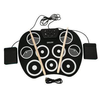 9 Pad Electronic Roll Up Drum Kit USB Digital Foldable Practise Tool
