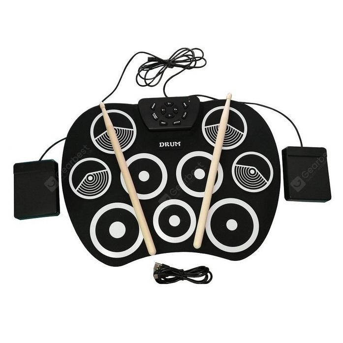 9 Pad Electronic Roll Up Drum Kit USB Digital Foldable Practise Tool - Black
