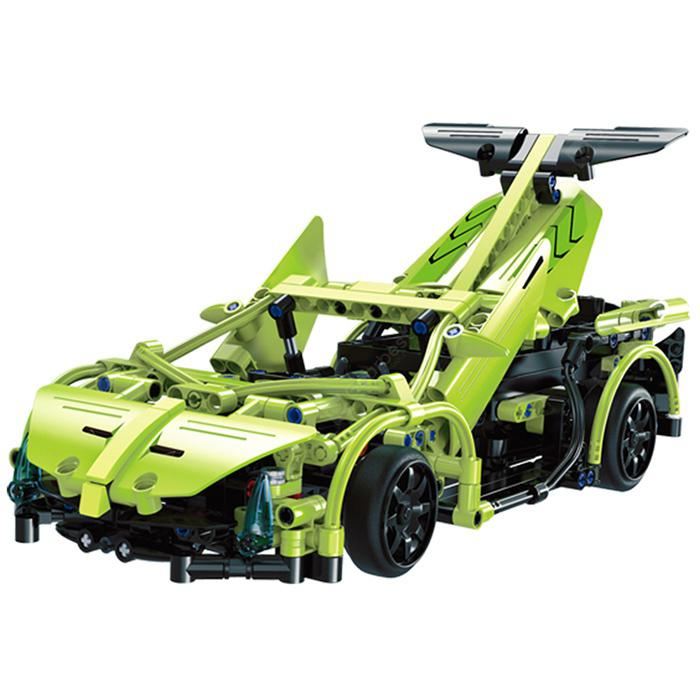 Double E Creative Building Block Car Assembled Toys - GREEN SNAKE