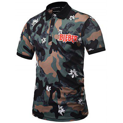Camouflage Sleeve Leisure Comfortable Shirt Print Short Y6nwpxPOq