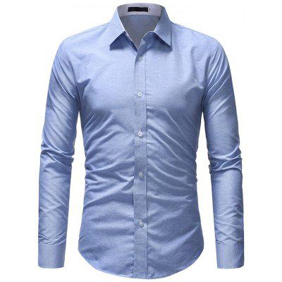 Men Stylish Business Solid Color Long Sleeve Shirt