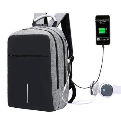 Gearbest Large Capacity Burglar-proof Oxford Cloth Backpack with USB Charging Port - GRAY CLOUD