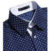Men Stylish Business Dot Long Sleeve Shirt - CADETBLUE