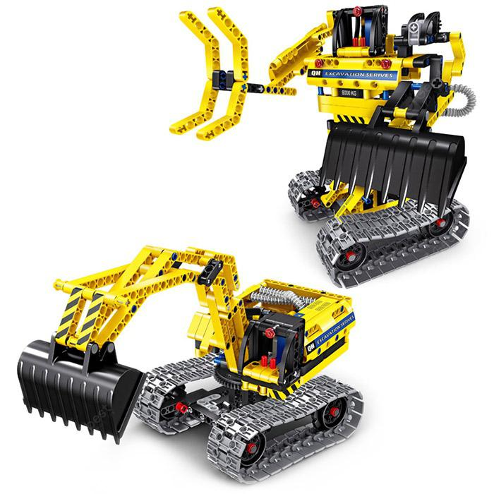 DIY 2 In 1 Metamorphic Excavator Robot Block Toy YELLOW