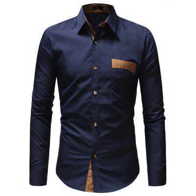 Men Simple Business Solid Color Long Sleeve Shirt