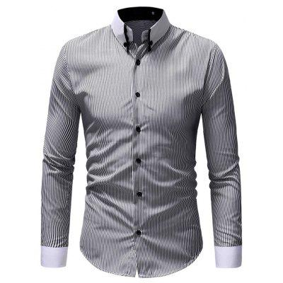 Men Stylish Business Stripe Long Sleeve Shirt