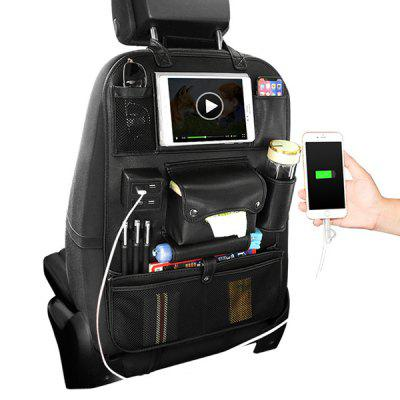 Leather Scratch-proof Wear-resistant Car Seat Storage Bag with USB Charging Port