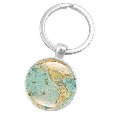Map Style Key Chain Collection Gift Key Ring