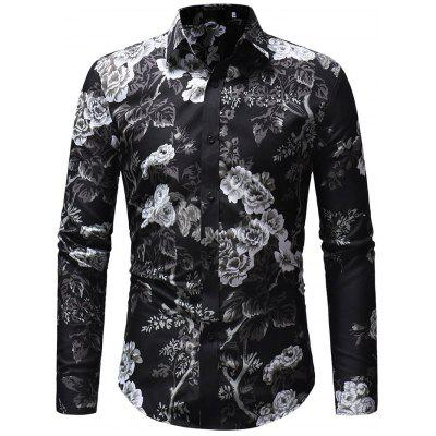 Men Stylish Floral Printed Long Sleeve Shirt