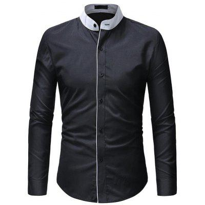 Men Stylish Solid Color Stand Collar Long Sleeve Shirt