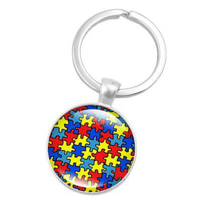 Colorful Puzzle Style Key Chain Collection Gift Key Ring