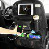 Leather Scratch-proof Wear-resistant Car Seat Storage Bag with USB Charging Port - BLACK